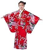 Yue Lian Mädchen Blumen&Pfau Kimono mit Obi-Gürtel Cosplay Yukata Japanisch (Höhe:120-130cm, Rot)
