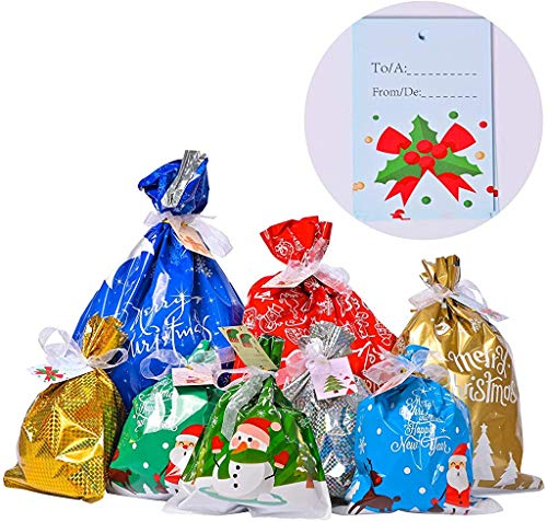 Gift Bags Christmas Wrapping Bags - 35pcs Assorted Sizes Large Small Gift Bags Christmas Wrapping Bags Reusable Gift Bags Gift Wrap Casmile