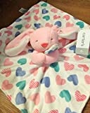 Carter's Plush Bunny 13.5' Baby Security Blanket Lovey Pink wtih Hearts