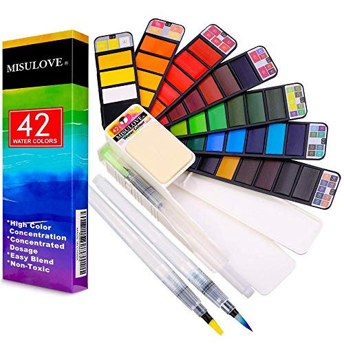 MISULOVE Watercolor Paint Set, 42 Assorted Colors Foldable Paint Set with 3 Brushes, Foldable Travel Pocket Watercolor Kit, for Artist Beginning Adults Students Painters Field Sketch Outdoor Painting
