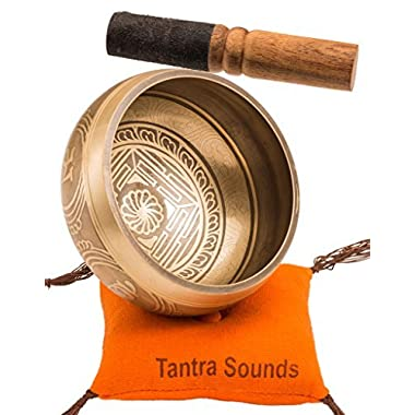 Tibetan Singing Bowl Set By TANTRA SOUNDS - Om Mani Padme Hum - Chakra Balancing, Excellent Resonance Healing & Meditation Yoga Bowl with Mallet, Nepalese Cushion & Bag, Made in Nepal (4.5 , Gold)