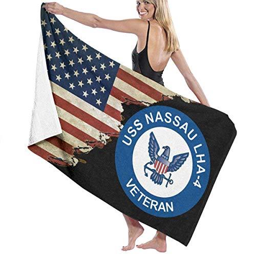 521 USS Nassau LHA-4 Veteran Mit Usa Flagge Handtuch Saugfähig Summer Badetuch Schnelltrocknend Saunatuch Leicht zu pflegen Strandlaken Für Geschenk Picknick Fitnessstudio,80X130Cm