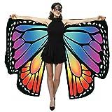 Schmetterlingsflügel Damen Doppelseitig Bunte Schmetterling Flügel Frauen Fasching Kostüm Karneval Zubehör Kleidung Accessories Erwachsene Schal Umhang Cloak, Rot Rosa Orange Pink Lila Grün Blau