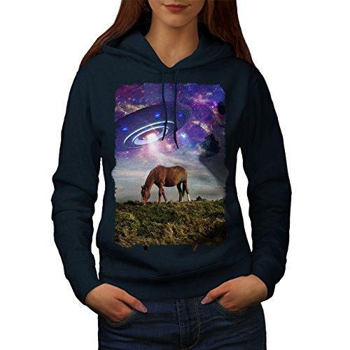 wellcoda Pferd UFO Raum Tier Frau Kapuzenpullover Pferd Beiläufiges mit Kapuze Sweatshirt