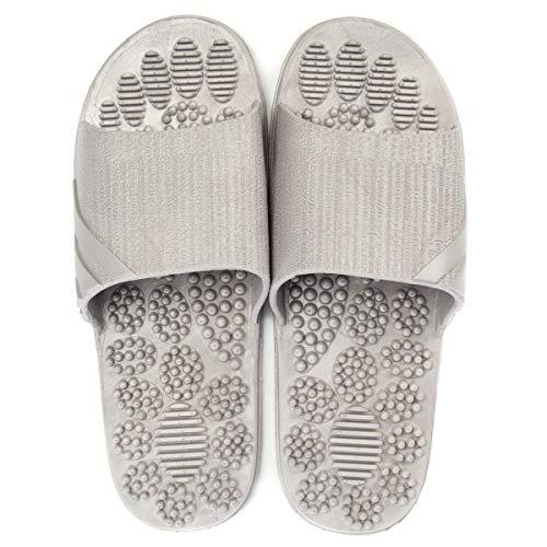 Massage Slippers Foot Reflexology & Acupressure Massagers Sandals for Men & Women Home Shoes Foot Acupoint Massage Pain Relief Non-Slip Massage Shoes for Bath Shower (Gray)