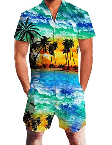 Idgreatim Herren Overalls Herren Jumpsuit Männer 3D Tropical Branch Jumpsuit Kurzarm Knielangen Hosen Strampler Overall XL