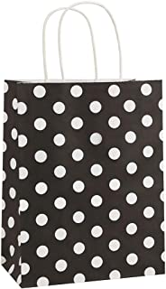 Gift Bags 25Pcs 8x4.75x10.5 Inches BagDream Shopping Bags, Paper Bags, Kraft Bags, Retail Bags, Holiday Party Bags, Black Dot Paper Bags with Handles, Black Gift Bags