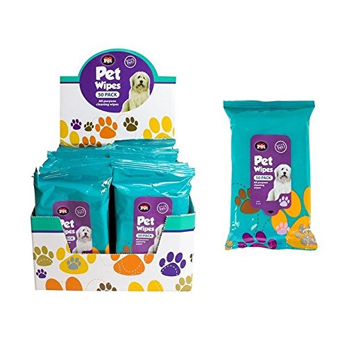 Paquete de 50 toallitas húmedas para limpieza de mascotas; para orejas, patas, cuerpo y cabeza de perros y gatos