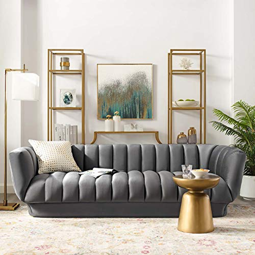 Modway Entertain Vertical Channel Tufted Performance Velvet Sofa Couch in Gray