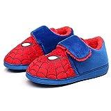 WQLESO Pantoufles en Coton Spiderman pour Enfants garçons Automne et Hiver Dessin animé Chaud Anti-dérapant Chaussures d'intérieur à Semelle Souple Chaussures de Maison,Spiderman -28EU