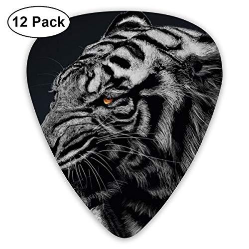 Gitaar Pick zwart en wit gestreepte tijger behang 12 stuk gitaar peddel set gemaakt van milieubescherming ABS materiaal, geschikt voor gitaren, quads, enz.