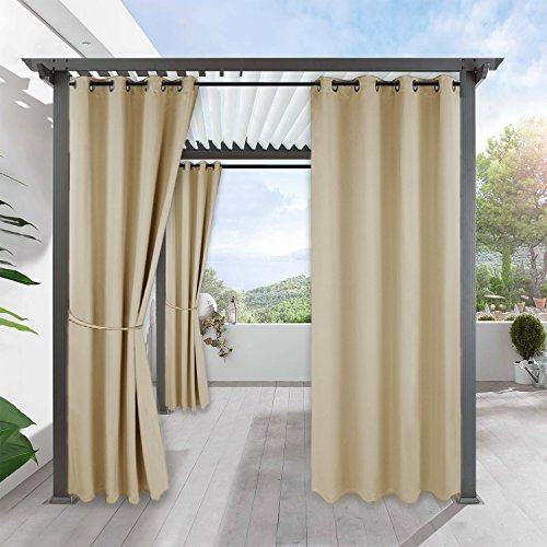 RYB HOME Outdoor Patio Curtains - Waterproof Windproof Thermal Insulated Blackout Outdoor Curtains for Gazebo Porch Pergola Cabana Sun Room Deck, W 52 x L 84 inch Long, 1 Pc, Beige