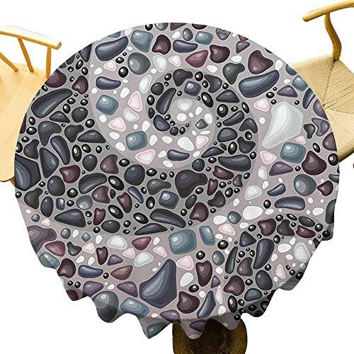 Naturaleza exterior mesa redonda jardín montañas piedras volcánicas imagen de guijarros sobre cemento impresión mesa protección pizarra azul negro y gris diminuto diámetro 60 pulgadas