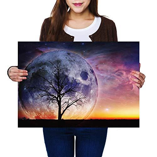 A2 | Sunset Super Moon Tree Night Sky – Póster A2 de tama