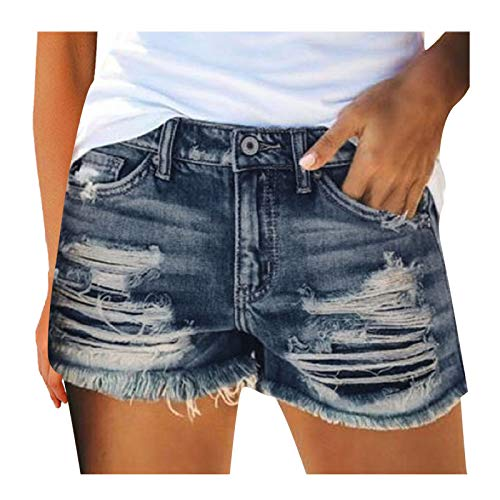 Vaqueros Cortos Rotos para Mujer  Pantalones Cortos de Niña 2021 Verano Denim Shorts Cintura Alta Elasticos Tiro Alto Shorts Jeans con Bolsillos