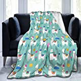 CONLIN Cute Llama Girls Sofa Blanket Lightweight Travel Blanket, Decorative Extra Soft and Comfortable Warm Cozy Flannel Throw Blankets for Kid's Adults Gift- 40'X50'