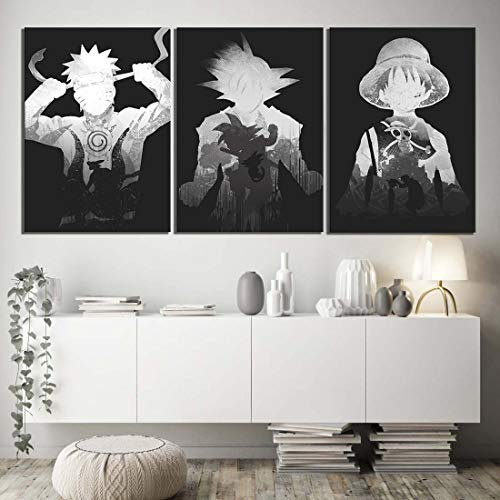 Wandgemälde 3 Stück Anime Dragon Ball One Piece Naruto Goku Luffy Naruto HD Schwarz Weiß Cartoon Charakter Poster,A,50x70cmx3