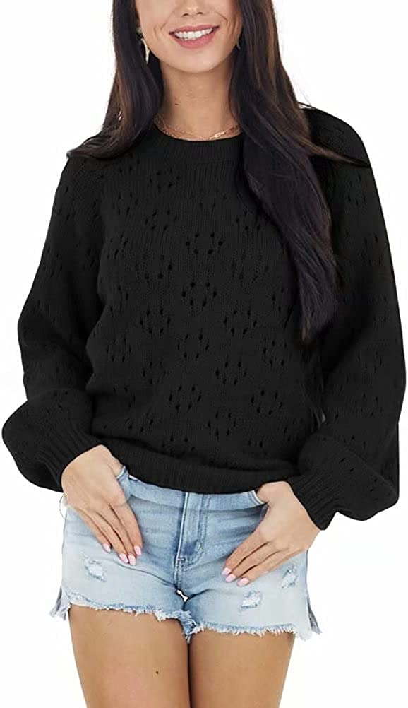 SUPRELOOK Women's Puff Sleeve Sweaters Tops Crewneck Hollow Out Pullover Shirt Lightweight Knit Sweater Blouse