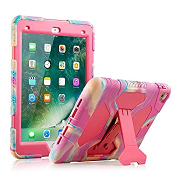 iPad Pro 9.7 Case  2016 Release  ACEGUARDER Case for iPad Pro 9.7  A1673 A1674 A1675  Heavy Duty Shockproof Rugged Cover Adjustable Stand for iPad Pro 9.7 inch - Camo Pink