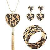 Toamen Set di Bracciali da Donna,3 Pezzi di Orecchini di collane di Leopardo in Lega Set di bracciali con Fibbia, Orecchini a Gancio, Set di Gioielli da Polso Sposa Gioielli Regali