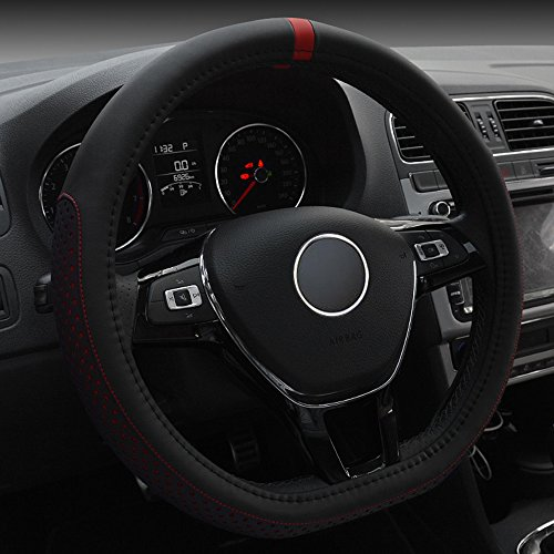 INEBIZ D Type Fashionable Microfiber Leather Steering Wheel Cover Sporty Style, Durable, Anti-Slip, 15' Universal Fit (Red)