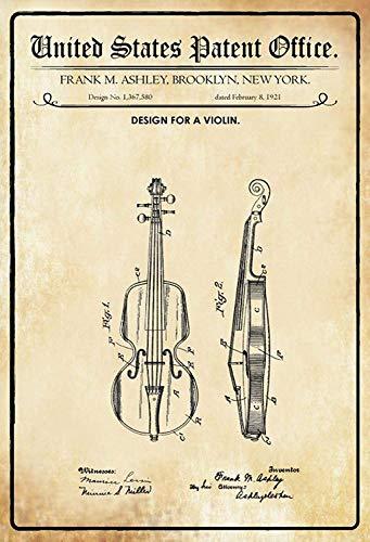 NWFS patent ontwerp voor een viool metalen bord bord bord Metal Tin Sign gewelfd gelakt 20 x 30 cm