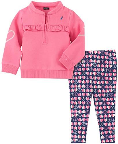 Nautica Baby Girls 2 Pieces Pants Set, Rose Qeen/Print, 18M