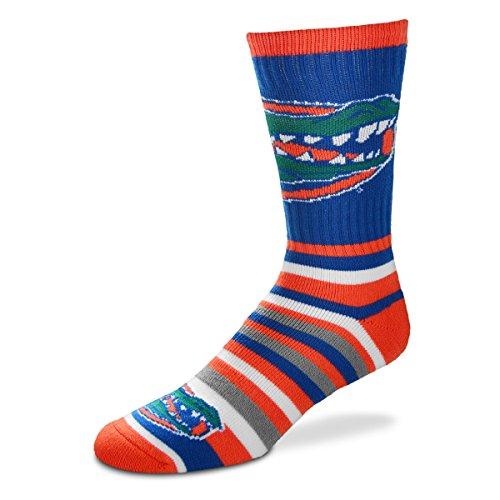 For Bare Feet NCAA Lotta-Stripe Men's Crew Socks-Florida Gators