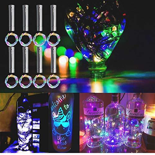 TINYOUTH 8PCS Korken mit LED Lichterkette Bunt, 2M/78.74in 20LED Flaschenlichter AA Batterie, Immer beleuchten, Weinflaschen...