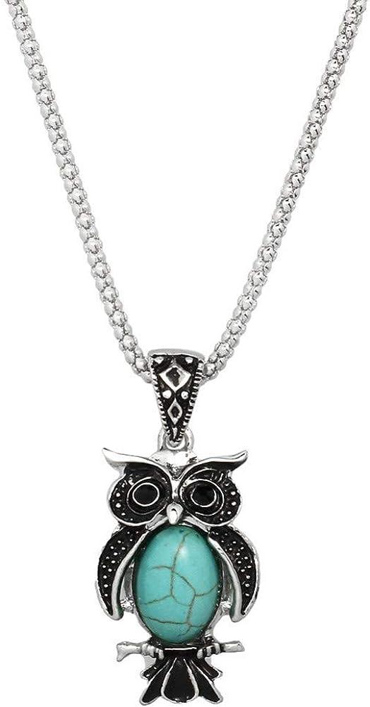 Liavy's Owl Charm Pendant Fashionable Gemstone Necklace - 17
