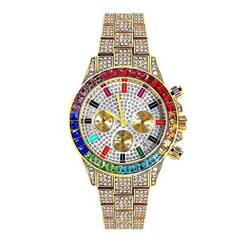 LuBHnna Orologio al Quarzo ghiacciato Bling da Uomo Orologio da Polso cronografo con Calendario simulato con Diamanti Color Oro Argento per Uomo e Donna