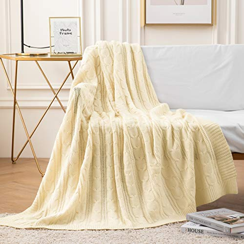 jinchan Throw Blanket Ivory Lightweight Cable Knit Sweater Style Year Round Gift Indoor Outdoor Travel Accent Throw for Sofa Comforter Couch Bed Recliner Living Room Bedroom Decor 50