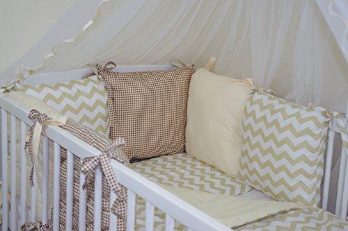 Baby's Comfort Parure de lit bébé ENSEMBLE DE 12 PIÈCES avec Tour de lit 6 coussins ( couleurs 28-54 ) ( s'adapte de matelas 120x60cm, 53)