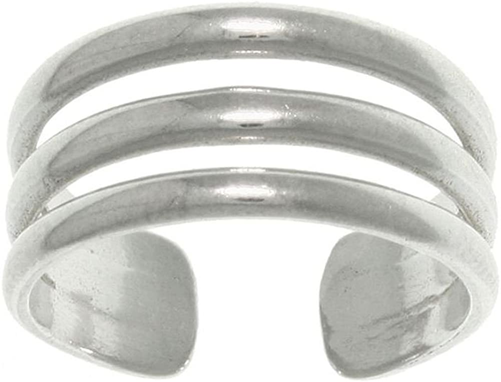 Jewelry Trends 3-Band Washington Mall Wide Sterling Adjustable-S Ring Challenge the lowest price of Japan ☆ Toe Silver