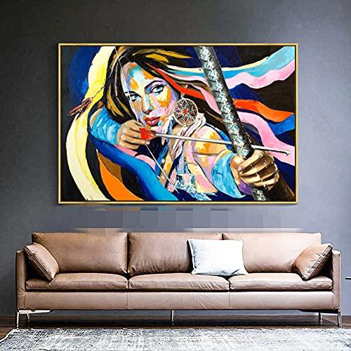 Impresión en lienzo Decoración para el hogar Chica Mujer Tiro con arco Arte de la pared Imágenes Figura colorida Retrato Obras de arte Carteles e impresiones 50x70cm Sin marco