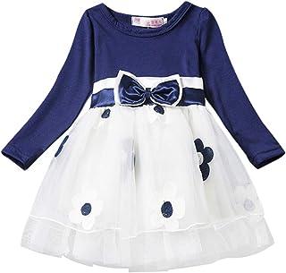 Vestido Tutú 6M - 4T para Bebé Malla Vestidos para Niñas Princesa Infantil Falda Tul Fiesta Flores Bowknot Manga Larga Alg...