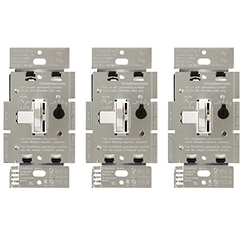 Lutron Toggler LED+ Dimmer Switch | 150-Watt, Single-Pole/3-Way | TGCL-153PH-WH-3 | White (3 Pack)