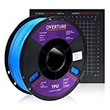 Overture TPU Filament 1.75mm Flexible TPU Roll with 200 x 200 mm Soft 3D Printer Consumables, 1kg Spool (2.2 lbs.) , Dimensional Accuracy +/- 0.05 mm, 1 Pack (Blue)