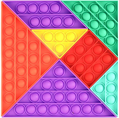FURIENIDE Tangram Push Bubble Toy, Sensory Fidget Toy, Bubble Sensory Toys,Anti-Anxiety Autism Special Needs Stress Reliever Silicone Toys (Orange and Purple)