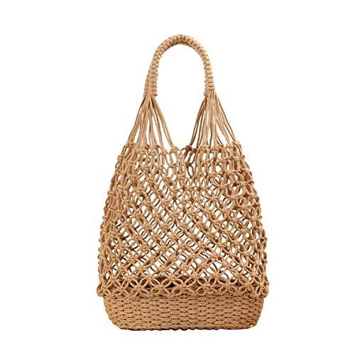 Cracklight Strandtasche Korb Makramee Tasche Handgewebte Umhängetasche Damen Strohtasche Einkaufstasche Korbtasche