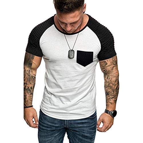 MEIbax Moda Cosiendo Color de Contraste Camiseta de Hombre Manga Corta de los Hombres Ventilación cómoda Ropa de Hombre de Fitness Ropa Deportiva Gimnasio de Manga Corta para Hombre
