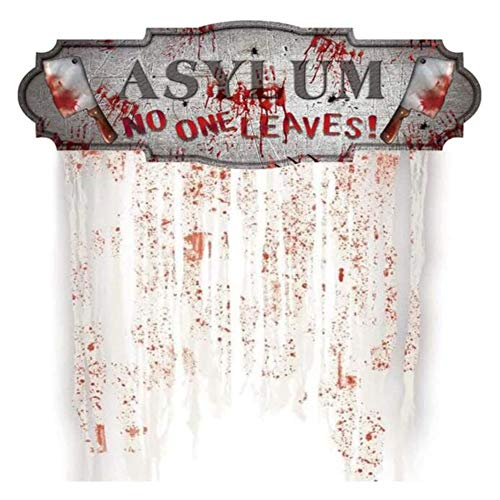 CAREXY Bloody Asylum Unheimlicher Türvorhang, Halloween-Türdekorationskarton für Horror-Themenbars Geheime Räume