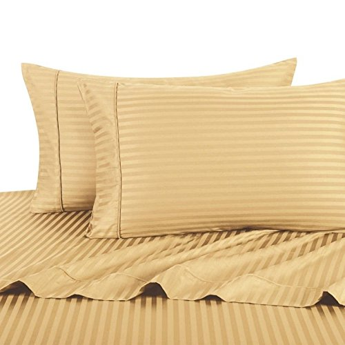 Deluxe' Striped Bed Sheet Set 100 Percent Egyptian Cotton Fine Single Yarns 1800 Thread Count Features Indulgently Soft Surface with a Lovely Sheen!! Set includes Fitted, Flat and Pair of Pillow Cases. Deep Pocket Fitted Sheet up to 18 Inches (King, Gold)