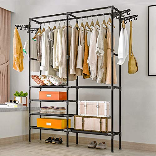 Clothes Rack Heavy Duty for Hanging Clothes, Metal Garment Hanging Display Stand Shoe Storage Shelfs for Hanging Clothes, Coat Hat Rack and Storage Durable in Hallway Living Room Bedroom(174x86x44cm)