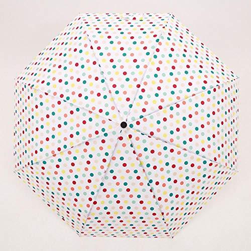 Paraguas Paraguas clásicos Paraguas Plegables Mujeres Lluvia Tres Paraguas Plegable para niñas Sunny and Rainy Mujer Impermeable Sombrilla Patrón de Puntos Small-Dot_Pattern