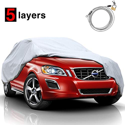 """KAKIT 5 Layers Universal SUV Cover Waterproof All Weather Heavy Duty Sun Protection Scratch Resistant for Automobiles Outdoor(Up to 180"""")"""