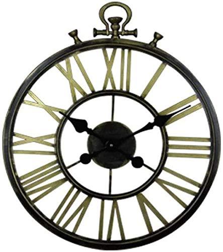 TIANYOU Reloj de Suspensión de Hierro Forjado Circular de 20 Pulgadas con Anillos Ovalados Clásico Cuarzo Reloj de Pared Circular Circular Sala de Estar Reloj de Pared Reloj Vintage