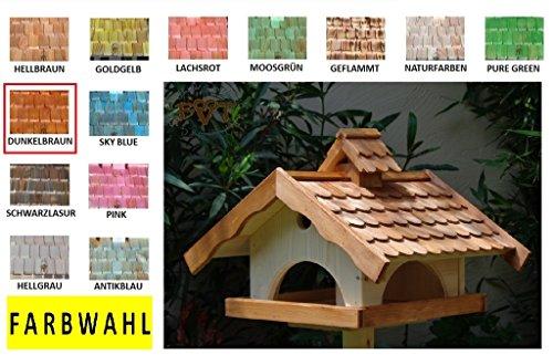 Vogelhaus, groß, BEL-X-VONI5-LOTUS-LEFA-dbraun002 Großes wetterfestes PREMIUM Vogelhaus mit wasserabweisender LOTUS-BESCHICHTUNG VOGELFUTTERHAUS + Nistkasten 100% KOMBI MIT NISTHILFE für Vögel WETTERFEST, QUALITÄTS-SCHREINERARBEIT-aus 100% Vollholz, Holz Futterhaus für Vögel, MIT FUTTERSCHACHT Futtervorrat, Vogelfutter-Station Farbe braun dunkelbraun behandelt / lasiert schokobraun rustikal klassisch, MIT TIEFEM WETTERSCHUTZ-DACH für trockenes Futter - 3