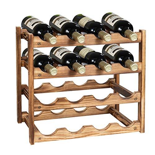 SOPRETY Weinregal Holz mit 4 Ebenen für bis zu 16 Flaschen, klein Weinflaschenhalter Flaschenregal schmal Flaschenaufbewahrung Weinflaschen Ablage Flaschenständer für Keller Gastronomie Lagerraum