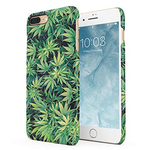 Weed Stoned Marijuana Leaves Compatible with iPhone 7 Plus/iPhone 8 Plus SnapOn Hard Plastic Phone Protective Case Cover